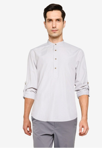 ZALORA BASICS grey Oxford Half Placket Shirt 68565AA6B9653FGS_1