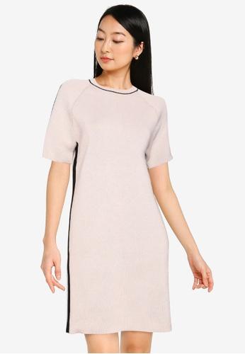ZALORA BASICS beige Contrast Panel Knitted Dress 0AF16AA5DE4678GS_1