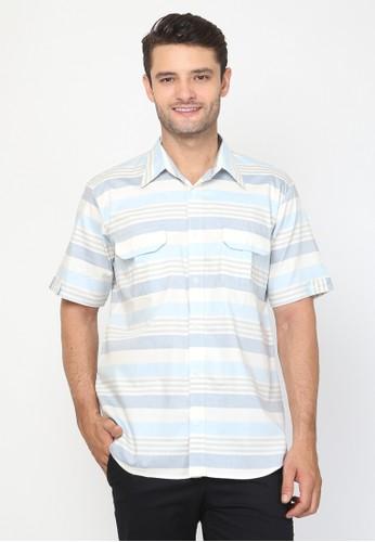 Allev blue Husain Shirt - Biru Salur 0DD9BAA5D347B5GS_1