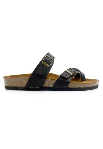 SoleSimple 黑色 Dublin - 黑色 百搭/搭帶 全皮軟木涼鞋 DA07ASH4890D40GS_1