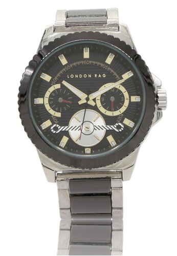 London Rag black and silver Classic Stainless Steel Strap Watch For Men 54139ACC14FE75GS_1
