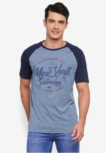 Burton Menswear London navy Navy Raglan New York Chest Print T-Shirt DF4EEAAF509F54GS_1