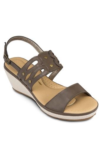Berly 鏤空寬esprit 會員帶楔形涼鞋, 女鞋, 楔形涼鞋