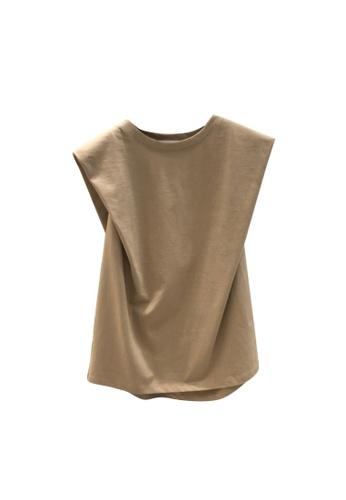 Sunnydaysweety beige Plain Simple Sleeveless T-shirt Top A21032014KI 0C367AAF6D1341GS_1