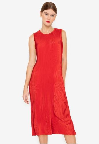 ZALORA WORK red Pleated Midi Dress 23621AA2E2EB4FGS_1