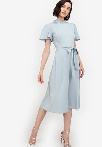 ZALORA WORK blue Flutter Sleeves Midi Dress D4C69AA746037AGS_1