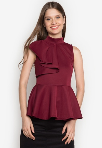 Ashley Collection red Amalia Peplum Ruffle Top AS637AA0JTMOPH_1
