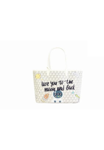 EMO white Korean fashion Brand‧Canine Graffiti Pattern Totebag (Large)-White B1014AC9CA6C3CGS_1
