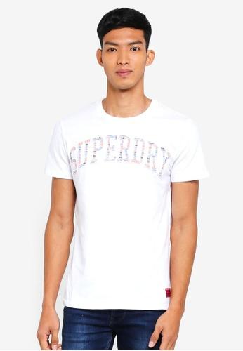 Superdry white Varsity Aop Embossed Tee 1D835AA86661ACGS_1