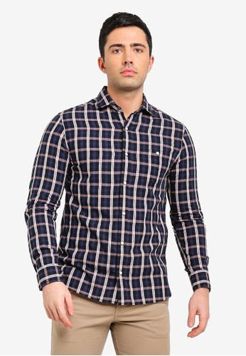 MANGO Man blue and navy Slim-Fit Checked Cotton Shirt E3698AA15785F7GS_1