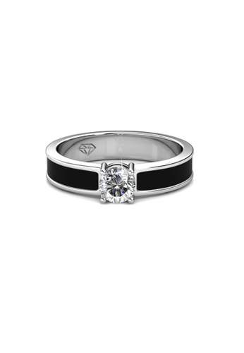 Her Jewellery black and silver Swarovski® Crystals - Rox Ring (Black)(18K White Gold Plated) Her Jewellery HE581AC0RAZPMY_1
