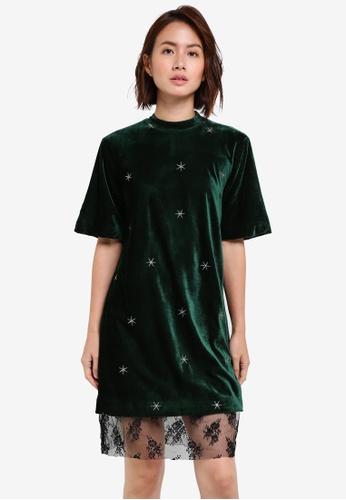 ZALORA green Studio Velvet Shift Dress 547E2AAD5C7E3AGS_1