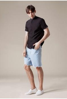 Life8-Casual 織帶設計 棉麻短袖襯衫-03866-黑色