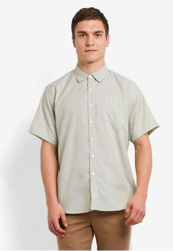 ZALORA green Relax Fit Striped Textured Short Sleeve Shirt D116BAAE9B25D1GS_1