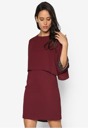 閃飾七分袖連zalora是哪裡的牌子身裙, 服飾, 服飾
