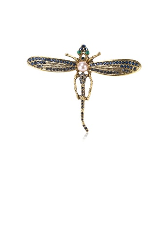 Glamorousky blue Fashion and Simple Plated Gold Dragonfly Imitation Pearl Brooch with Cubic Zirconia E4D48AC3608404GS_1