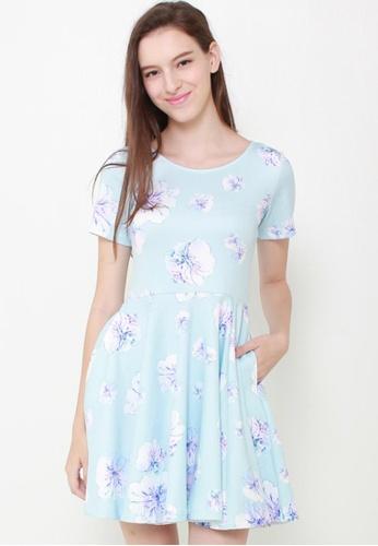 Leline Style blue Sweetheart Floral Dress LE802AA18GCVSG_1