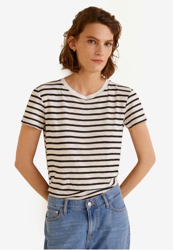 Mango white Striped Cotton T-Shirt 066FAAA78FDEDFGS_1
