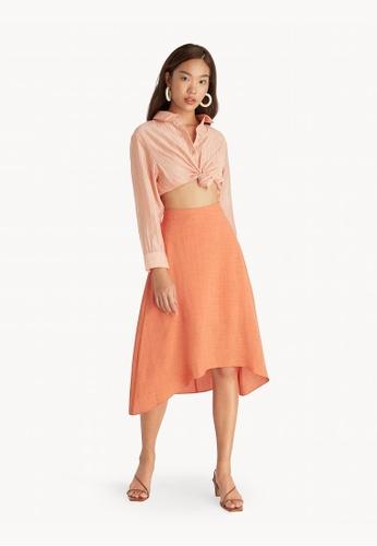 Pomelo orange Midi Flowy A Line Skirt - Orange 7AAFAAA0A218ACGS_1