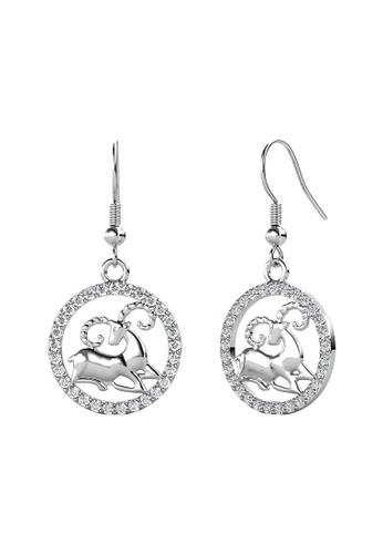 Her Jewellery white Her Jewellery Circlet Hook Aries Earrings (White Gold) embellished with Crystals from Swarovski C92EDAC87450B6GS_1