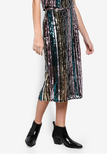 ae3f046d8fde Buy Miss Selfridge Stripe Sequin Pencil Skirt Online on ZALORA Singapore