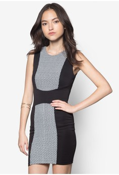 Textured Panel Fitted Dress