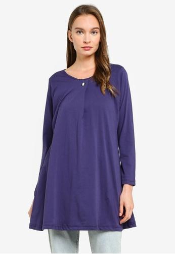 Aqeela Muslimah Wear blue Button Box Pleat Top FA82CAA8459C98GS_1