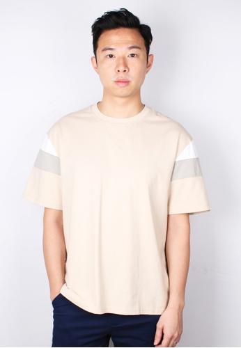 Moley beige Colour Block Oversized T-Shirt F1120AACA37358GS_1