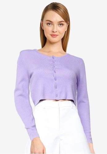 Urban Revivo purple Crop Knit Cardigan 47DB0AA971F296GS_1