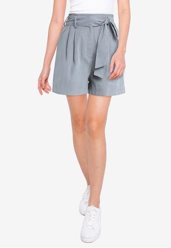 ZALORA BASICS blue Self Tie Shorts 8A8FCAA502E26DGS_1