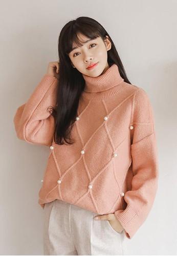 菱格珍珠高zalora 台灣門市領針織上衣, 服飾, 毛衣& 針織外套