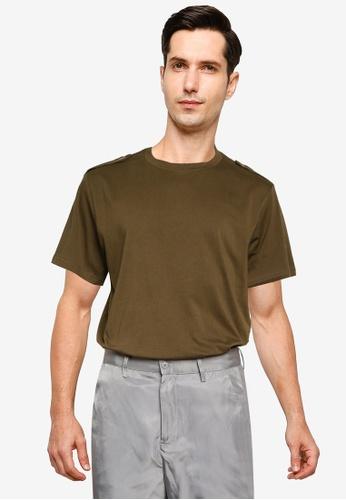 ZALORA BASICS green Epaulette Detail T-Shirt BE017AA593EEDBGS_1