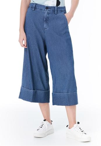 Sisley grey Stripe Cropped Pants 65348AA25B74AEGS_1