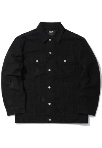 Fivecm black Distressed canvas jacket 0E550AA15A8695GS_1