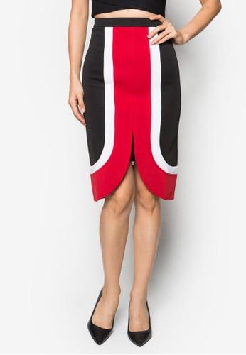 Candita 撞色及膝裙, 服飾zalora 折扣碼, 及膝裙
