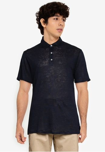 MANGO Man blue Linen Polo Shirt 9C53EAA5BD4852GS_1