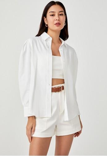 Love, Bonito white Coretta Balloon Sleeve Shirt F7207AAE843051GS_1