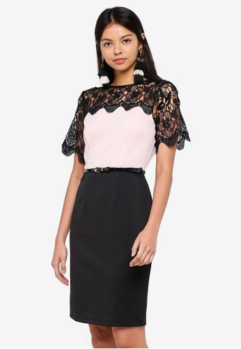 Dorothy Perkins pink Lace Top Pencil Dress 77640AA2DD49A9GS_1
