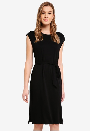 Cotton On black Fiona Tie Waist Midi Dress 49878AA163F5EFGS_1