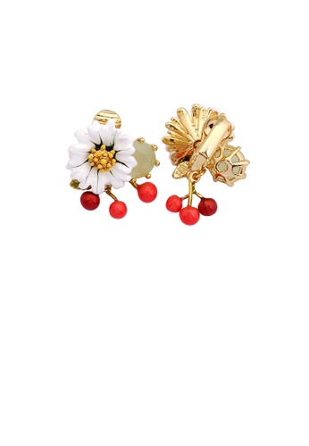 Glamorousky silver Elegant and Fashion Plated Gold Enamel Daisy Cherry Ear Clip with Cubic Zirconia 83CE1AC9C7C843GS_1