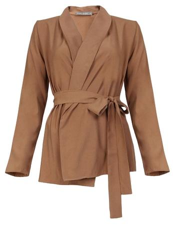 POPLOOK brown Robelle Tie Sash Wrap Blazer B3C86AA30D5900GS_1