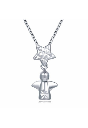 MaBelle silver 14K 585 White Gold Little Angel and Star Pendant Necklace 1C2A0AC10A3C4FGS_1