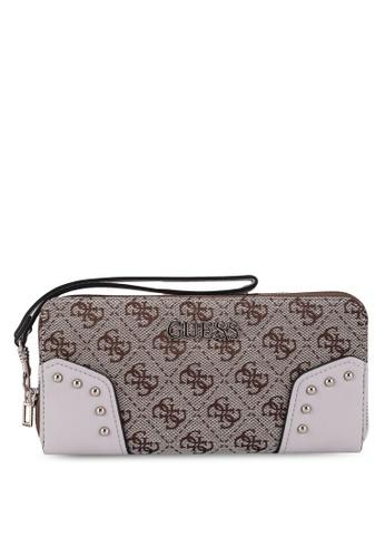 Guess brown Frankie Sling Large Zip Around Wallet B686FACC3EA4BFGS_1