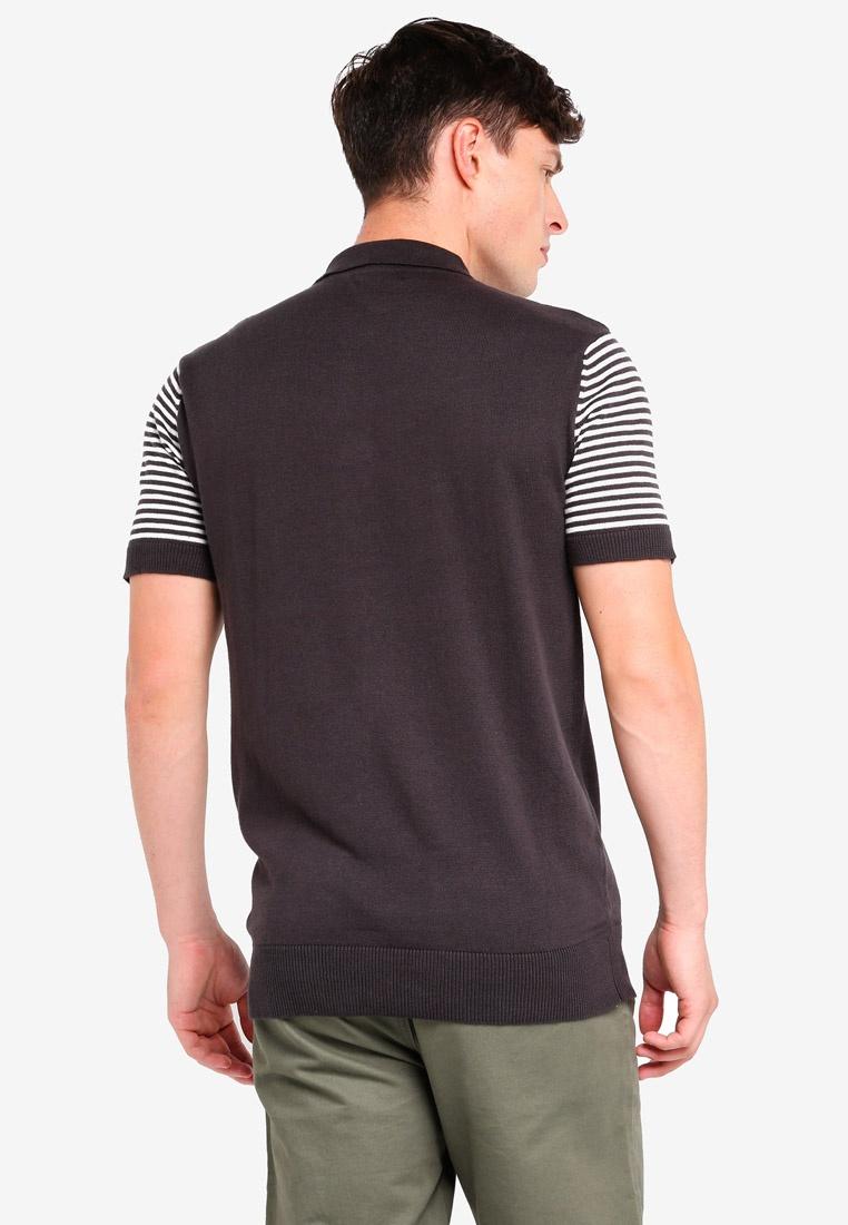 Brave Soul Polo Ecru Graphite Jacquard Shirt Knitted fwC0qxT