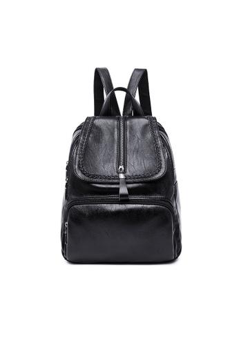 Lara black Women Zipper Flap Backpack 96BB2AC86885B8GS_1