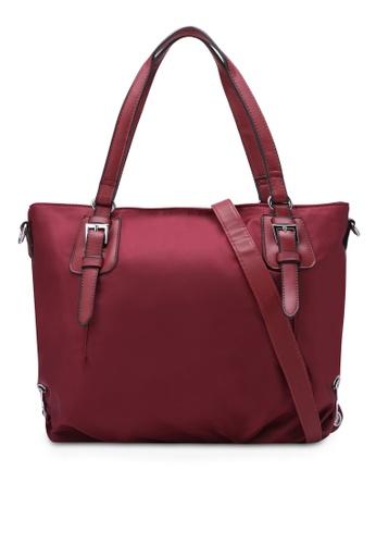 NUVEAU red PU-Trimmed Nylon Convertible Shoulder Bag NU245AC0S66RMY_1