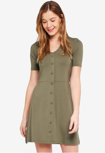 Dorothy Perkins 綠色 Khaki Button Fit And Flare Dress 5905AAA41CE3BAGS_1