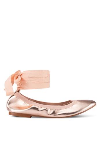TOPSHOP gold Vanquish Elastic Ballet Flats TO412SH51ZBCMY_1