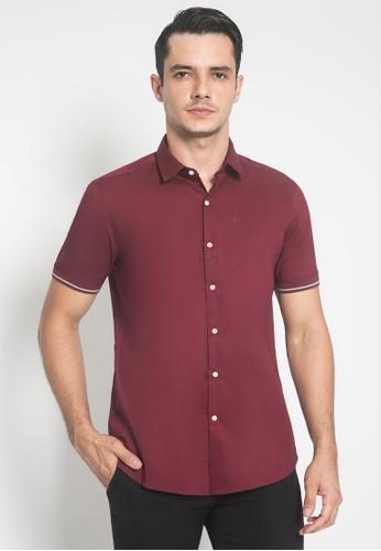 Johnwin red Slim Fit - Kemeja Formal - Merah Marun - Garis Strip 8F759AAE46777FGS_1