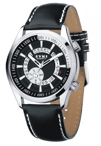 Eyki black and red Eyki W8453 Overfly Series Day Date Leather Watch (Black) EY078AC69ROOMY_1